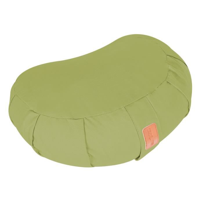 Coussin de méditation demi-lune vert - Hauteur d'assise : 19 cm - Coussin de yoga avec rembourrage en balles d'épeautre