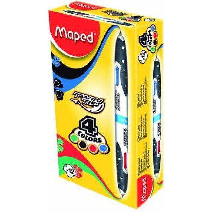 Maped stylo à bille 4 couleurs Twin Tip, noir / blanc