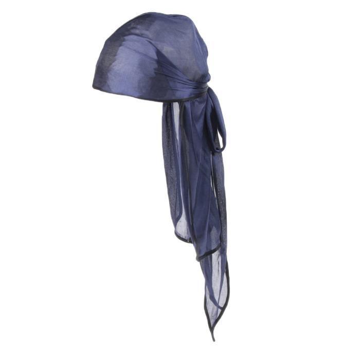 Casquette Unisexe Bandana Soyeux Durag Longue Queue soie - 6 Couleurs bleu marin Sundaying