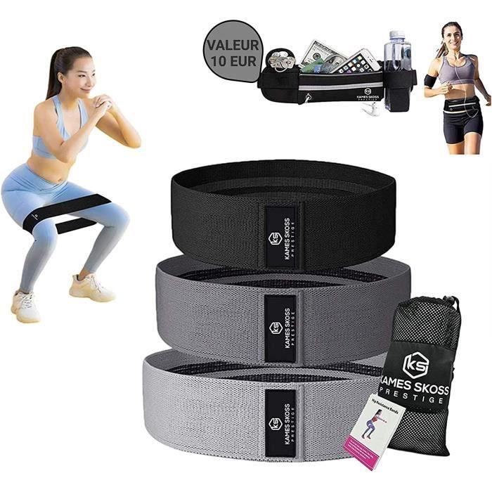 kames skoss prestige –3 Bandes élastique Fitness Musculation, Résistance en Tissu avec Sac de Rangement, Bande d'Exercice Élastique