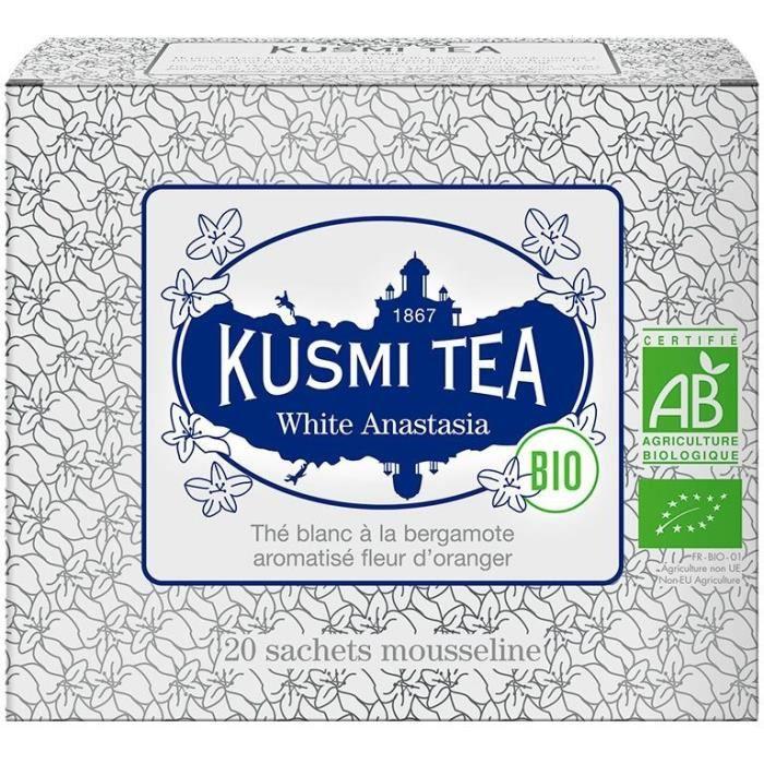 KUSMI TEA Thé blanc White Anastasia - Bio - Etui 20 sachets mousseline - 40 g