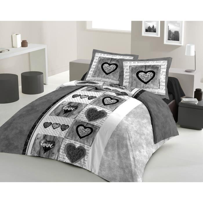 LOVELY HOME Parure de couette Coton SWEET HEART Anthracite 200x200cm