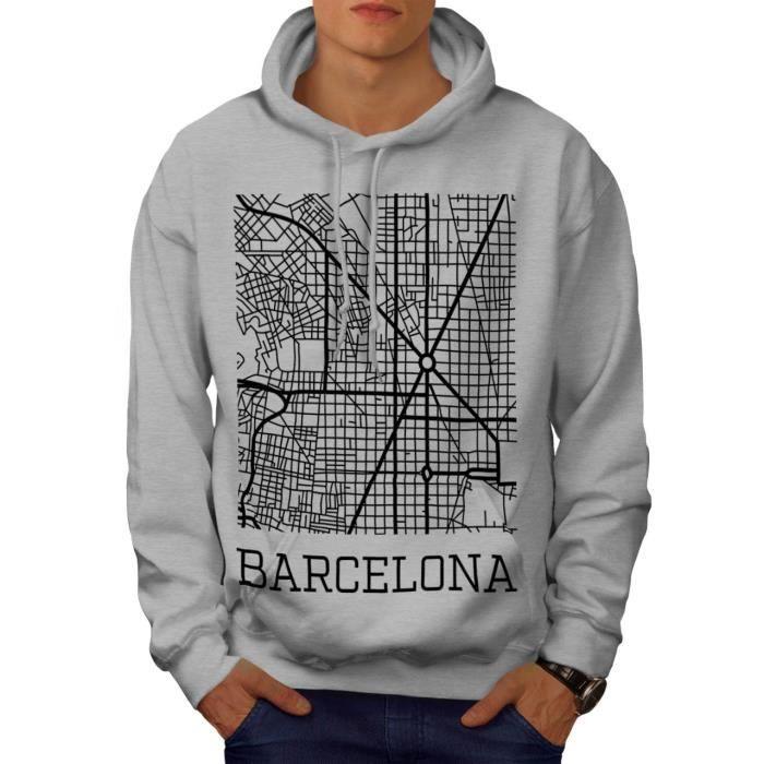 Espagne Ville Barcelone Ville Carte Men M Sweat à capuche - Wellcoda