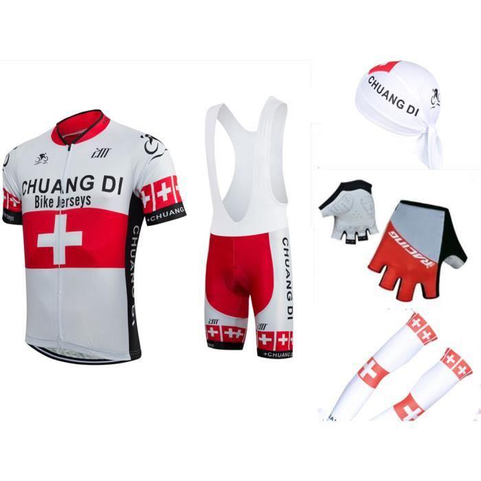 Maxi-set Vélo Cyclisme Maillot+Cuissard+Bandanas+Gants+Manchettes Homme