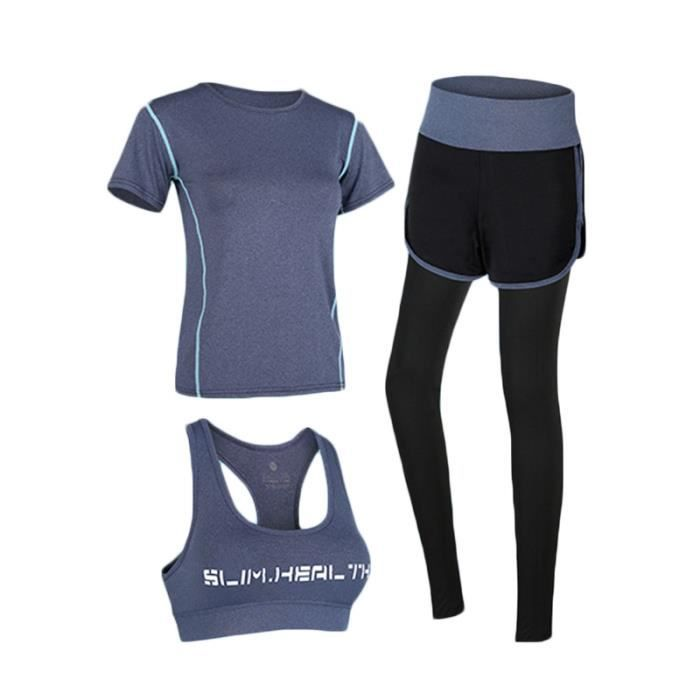 Ensemble de Vetement Sport Femme 3 Pieces T-shirt+Brassiere+Legging Fitness Running