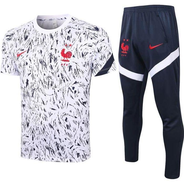 Survêtements Foot Homme Equipe de France - 2021 Maillot de Foot Homme Tenue de Foot - T-Shirt et Pantalon