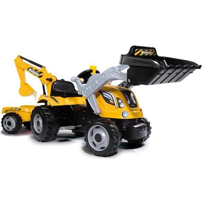 SMOBY Tracteur Builder Max Pelleteuse et Remorque - Jaune