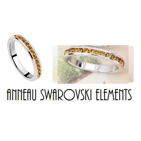 Bague solitaire Ambre Swarovski Elements Taille 54