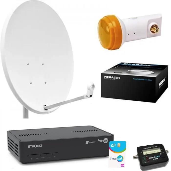 Kit Parabole 60 cm + Récepteur satellite THOMSON FRANSAT + LNB + 20m Cable Coaxial + Satfinder + Support mural