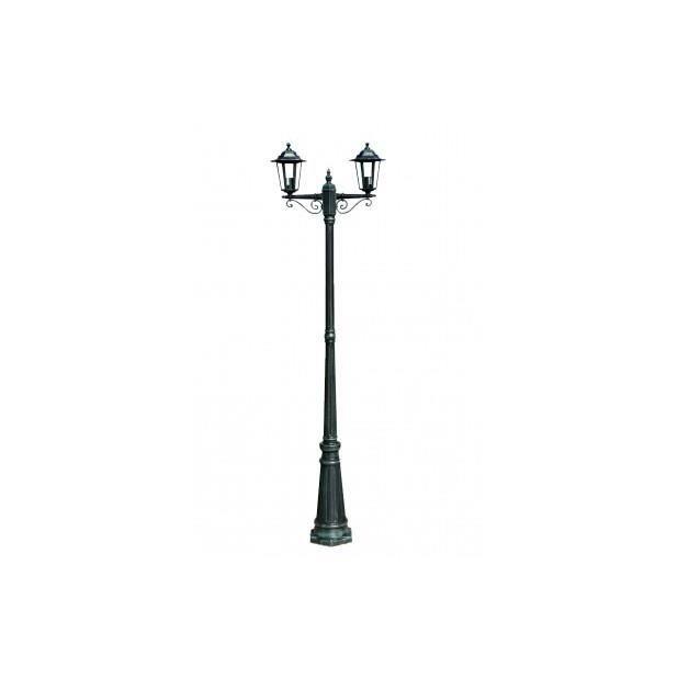 Lampadaire extérieur double noir hauteur 230 cm