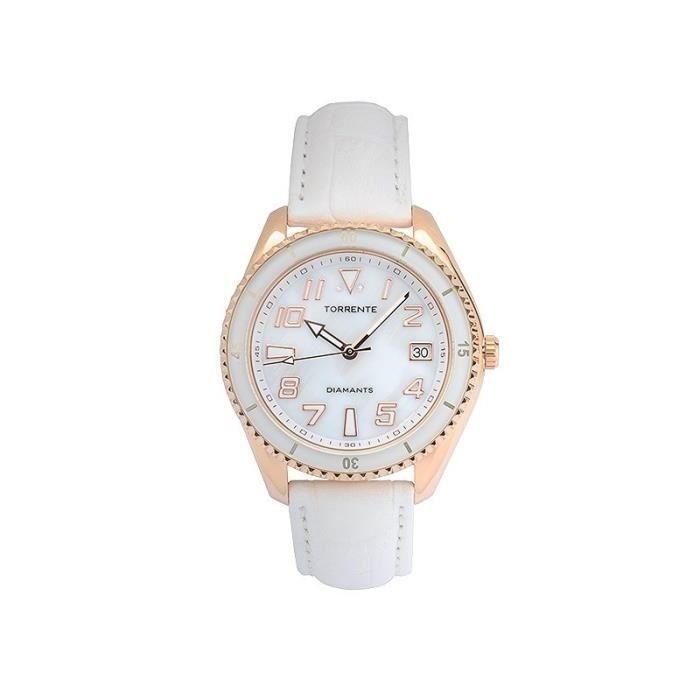 Montre Diamant femme Torrente FORTUNA Acier Plaqué Or Rose, Bracelet cuir blanc, Diamant 0,01/2 - 4CBX3C351FT Blanc