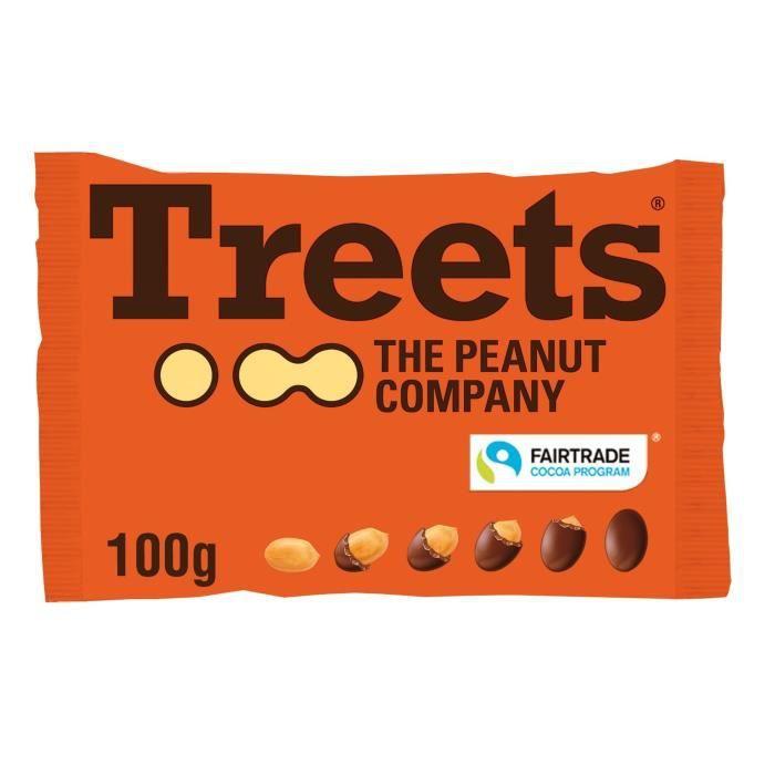 Sachet Treets 100g cacahuètes entières enrobées chocolat lait x16