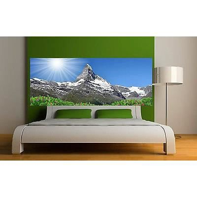 Sticker t te de lit d coration murale paysage montagne r f for Decoration murale montagne