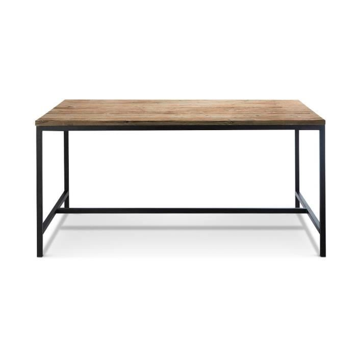table manger vintage vieilli bois et acier achat vente table a manger seule table. Black Bedroom Furniture Sets. Home Design Ideas