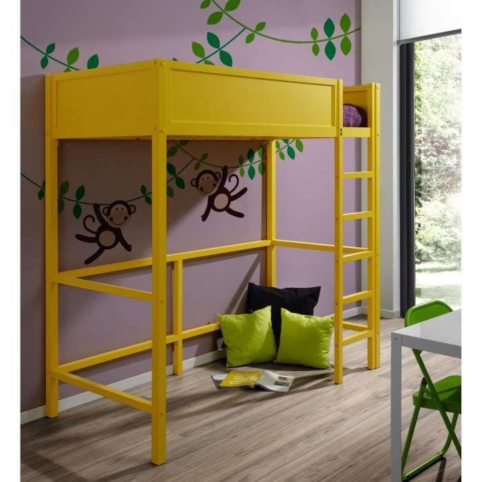tootsie lit mezzanine enfant laqu jaune 90x190cm achat. Black Bedroom Furniture Sets. Home Design Ideas