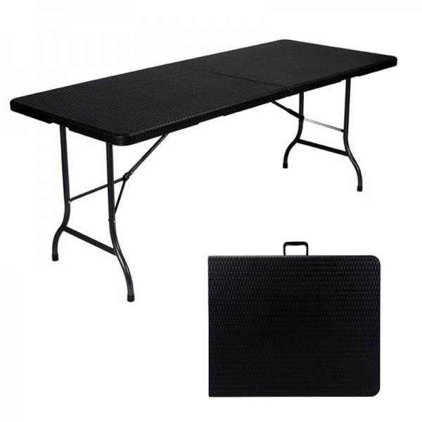 Table d 39 appoint pliante interieur exterieur fa on rotin - Table pliante exterieur ...