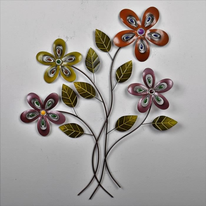 62,2/cm Cadre mural en m/étal Argent//marron D/écoration murale Fleurs Pure