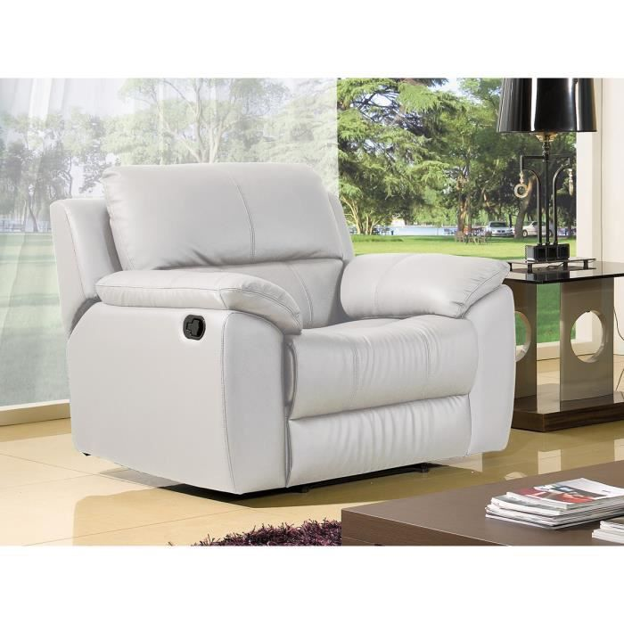 fauteuil luxe 1 place relaxation cuir blanc achat vente canap sofa divan cdiscount. Black Bedroom Furniture Sets. Home Design Ideas