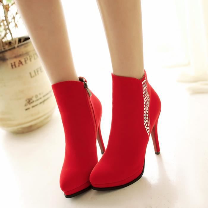 martin boots-Pure Color High Heel Heel Thin fem...