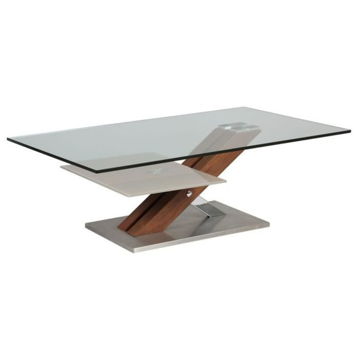 Table basse verre socle bois m tal x l achat vente table bass - Table verre et metal ...