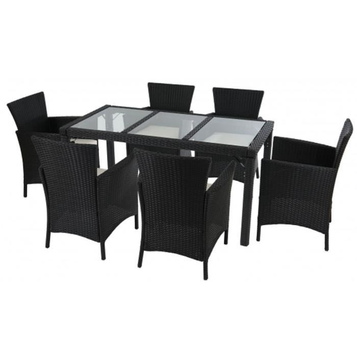 Ensemble de 6 chaises et table de 150 x 80cm en verre for Ensemble table en verre et chaises