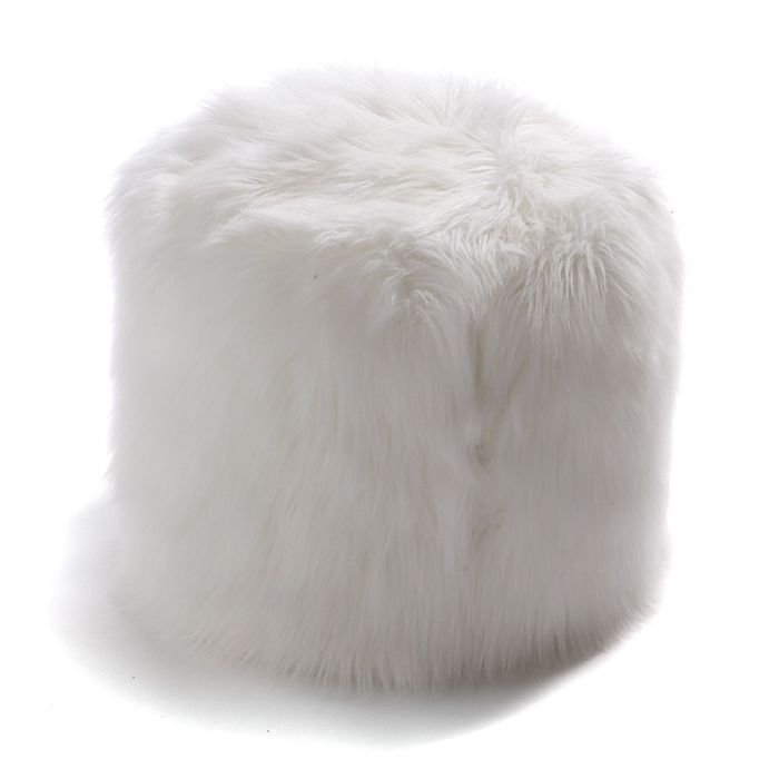potiron pouf rond fausse fourrure blanc achat vente pouf poire cdiscount. Black Bedroom Furniture Sets. Home Design Ideas