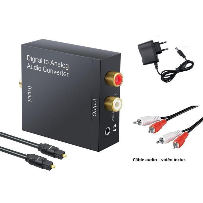 c/âble audio fibre optique Adaptateur s/éparateur digital optique de Toslink Noir.