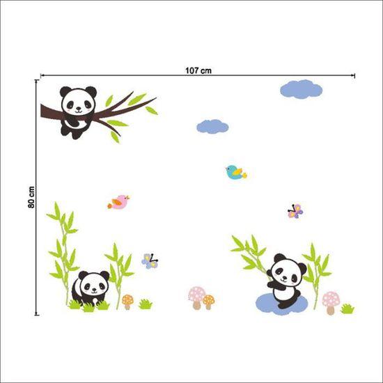 Stickers Muraux Amovibles Panda De Dessin Animé Combinaison Gratuite Pour La Décoration De Chambre à Coucher Salon
