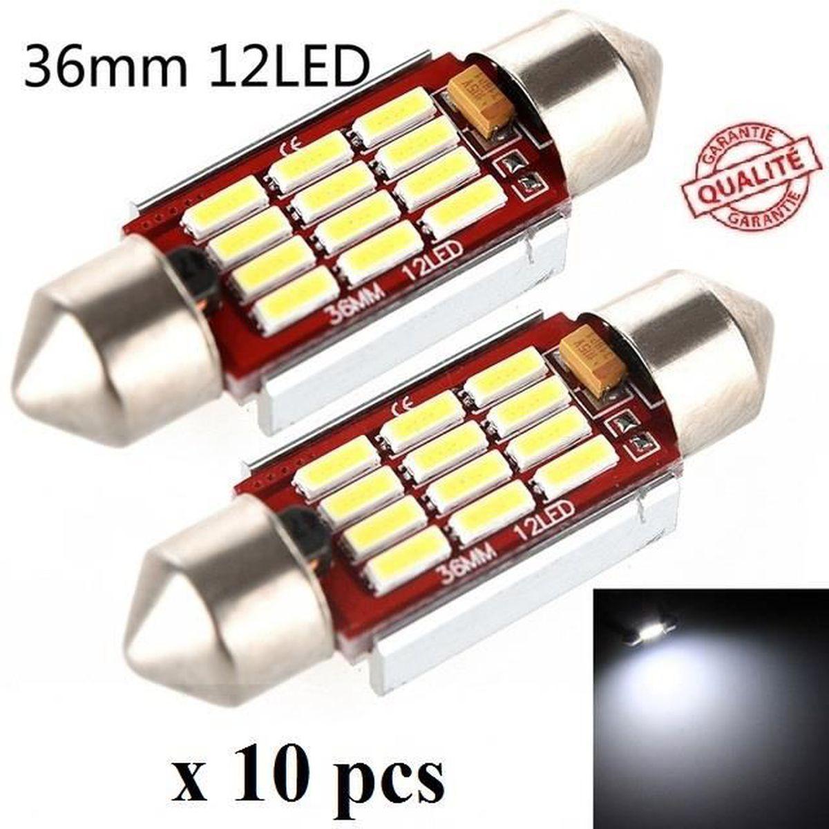 AMPOULE TABLEAU BORD 10 ampoule Navette LED C5W 36mm ANTI ERREUR CANBUS