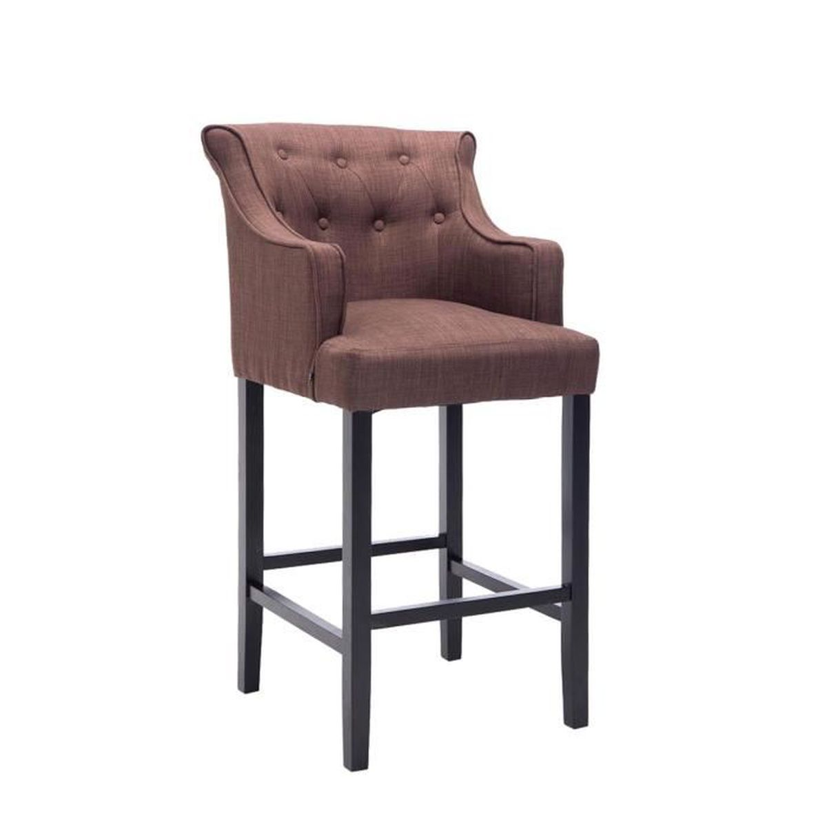 tabouret de bar en bois noir avec si ge en tissu coloris marron 114 x 63 x 60 cm achat. Black Bedroom Furniture Sets. Home Design Ideas