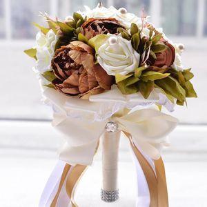 FLEUR ARTIFICIELLE CAFE MARRON 24cm bouquet de fleur boule de rose ar