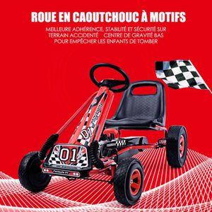 QUAD - KART - BUGGY Kart à Pédales en Métal 1 Place Rouge avec Roues e