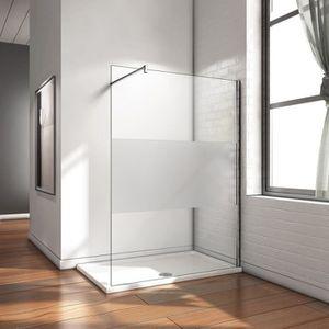 Paroi de douche 60x200cm avec un volet retour en 30cm paroi de douche /à litalienne avec une barre de fixation extensible