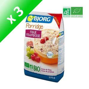 CÉRÉALES PETIT DEJ  BJORG Porridge Figue Framboise Bio 375g (Lot de 3)