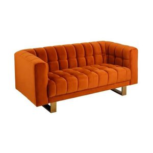 CANAPÉ - SOFA - DIVAN Canapé 2 places vintage en velours orange BASILE -
