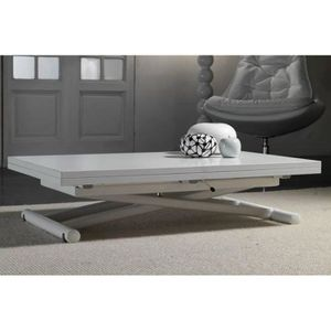 TABLE BASSE Table basse relevable extensible LIFT WOOD blanche
