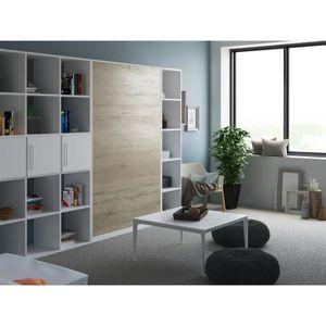 LIT ESCAMOTABLE SMARTBett Basic 120x200  verticale blanc/chêne son