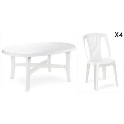 Ovale Blanche6 Plastique Empilables Jardin Blanc Table Chaises N8wvnm0