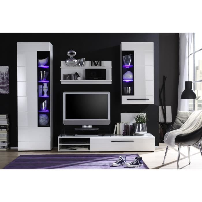 skin meuble tv mural en 250cm avec clairage led blanc achat vente meuble tv skin meuble. Black Bedroom Furniture Sets. Home Design Ideas