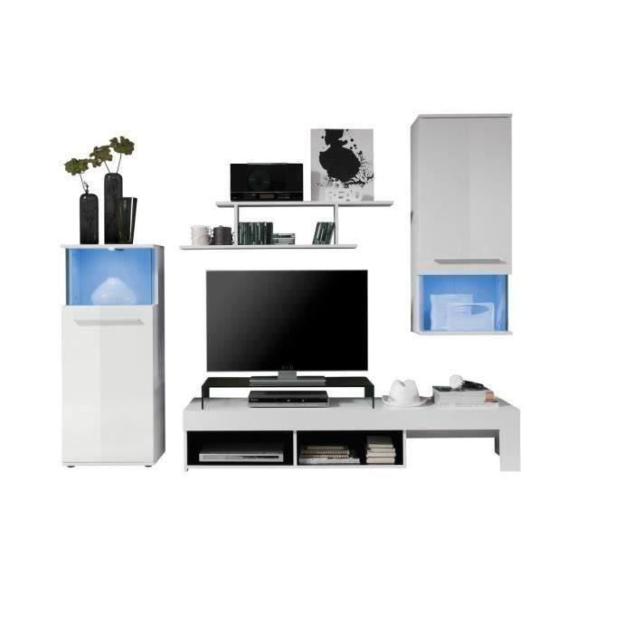 punch meuble tv mural contemporain blanc mat et brillant l 228 cm achat vente meuble tv. Black Bedroom Furniture Sets. Home Design Ideas