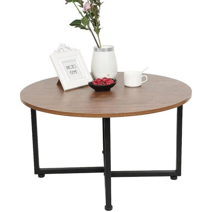 Table Basse Ronde Bois et métal Noir - 70 x 70 x 40 cm - Table d'appoint Industrielle pour Salon