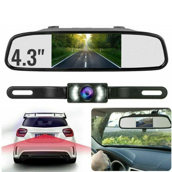 Caméra de recul miroir voiture vue arrière Kit de système de stationnement inverse Vision nocturne 4.3 -