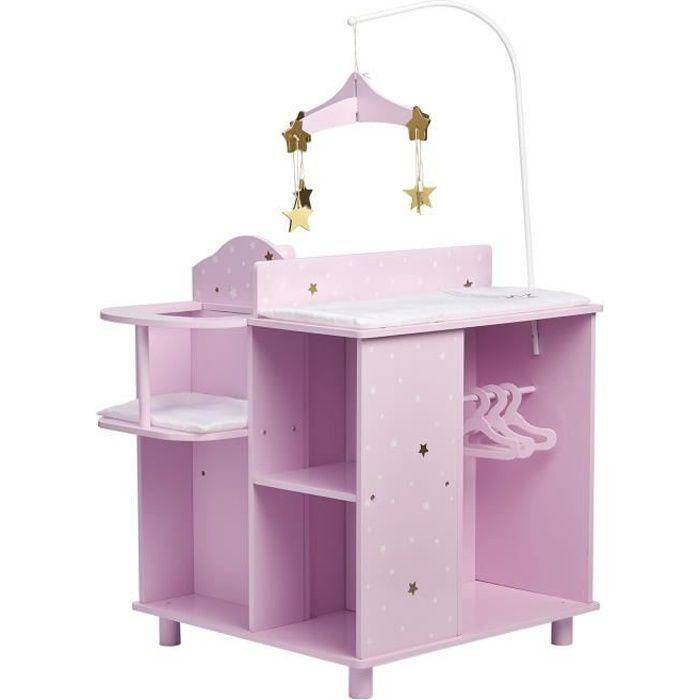 Table à langer avec chaise haute baignoire penderie de rangement pour poupon Olivias Little World TD-0203AP