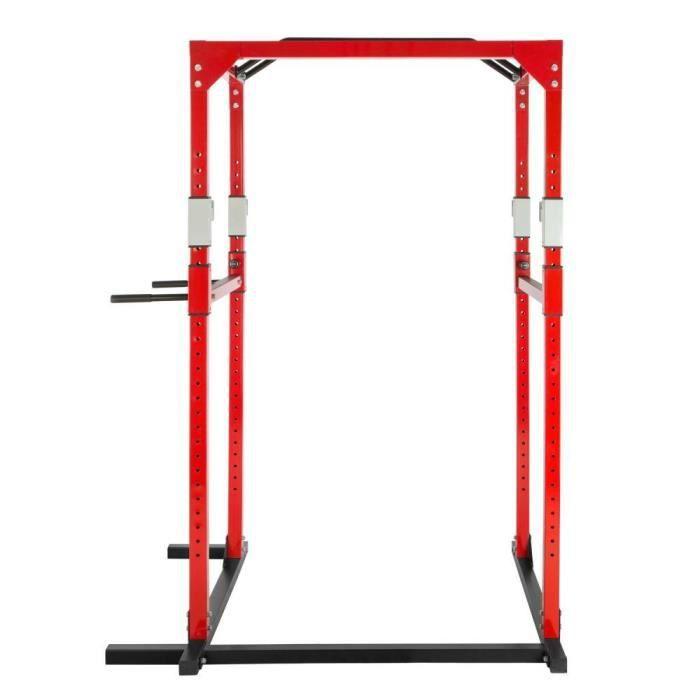 Cage de musculation rack station de fitness noir/rouge 0708070