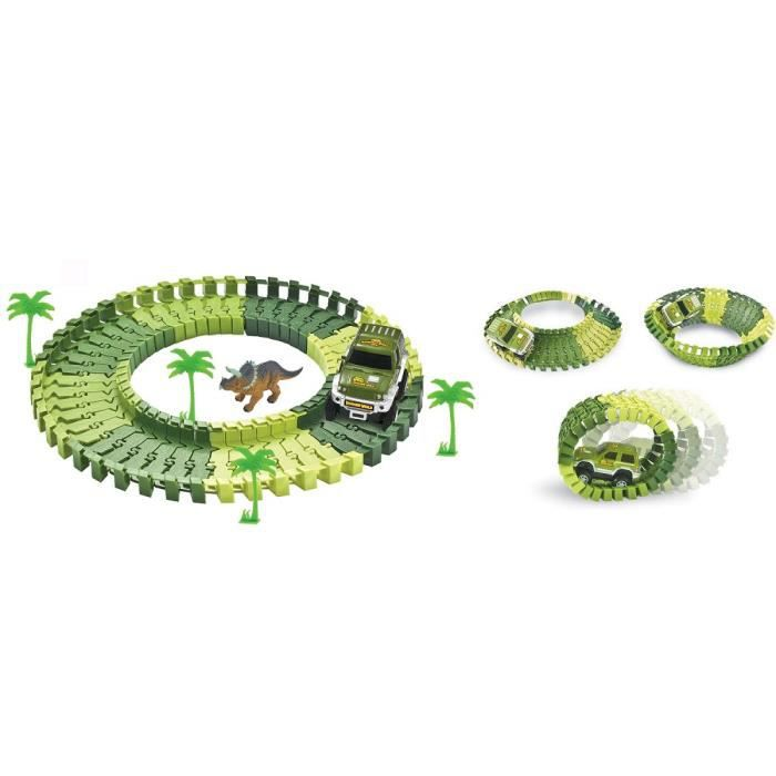 PIFUN Circuit flexible Dinosaures 48 rails + 1 voiture + 4 palmiers + 1 dinosaure + stickers