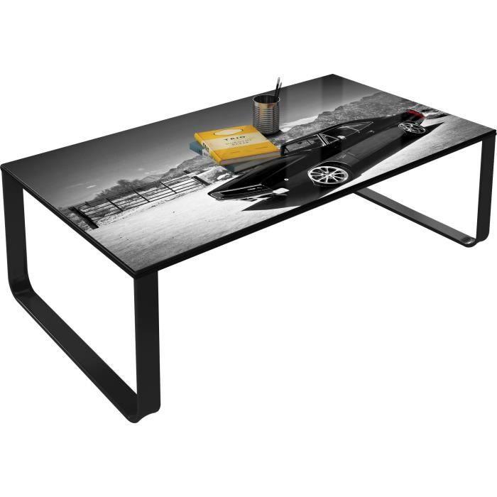 Table basse vintage gris en verre trempé sécurit L. 105 x H. 32 cm Collection Beekhuis VIV-24526 Gris