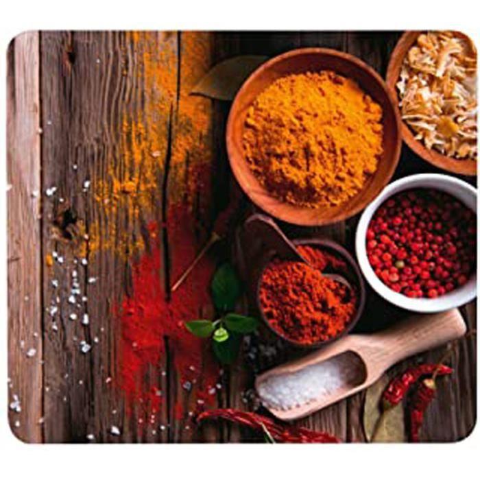 Crédence de cuisine en verre Epices - Protège-plaque pour plaques de cuisson vitrocéramiques et induction, planche à découper, Verre