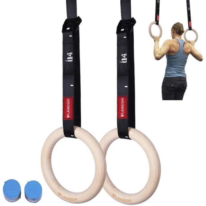 FDYD Bois Anneaux De Gymnastique Olympiques Gym Rings WStraps Eacutequipement De Sport pour Home Gym Fitness Training Entraicirc350