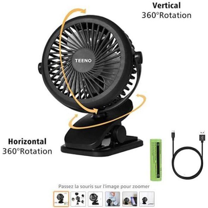 Ventilateur USB Rotation à 360° de Bureau avec Batterie Petit Ventilateur à Clipper Puissant et silencieux,pour Maison Bureau Voitur