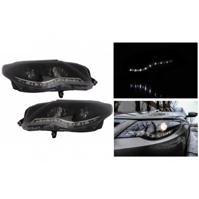 Phares Pour VW Volkswagen Passat CC 2008-2012 DRL Optic Noir Feux de Jour Headlights